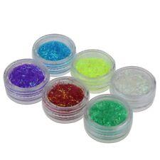 GLITTER iridescente PAGLIUZZE SCINTILLANTI per NAIL ART MANICURE 6 barattolini