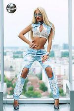 Ocassion Jeans 2-Teiler Jeansweste Boyfriendjeans Spitze Weite Jeanshose Blau
