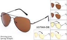 Night Vision Driving Glasses Daytime Sunglasses Aviator Style UV400 Spring Hinge