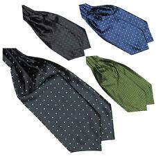 KQ_ Men's Fashion Smooth Polka Dots Ascot Tie Neck Tie Silk Blend Scarf Cravat B