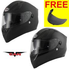 Vcan V128 Solid Black Full Face DVS Motorbike Motorcycle Helmet ACU + Free Visor