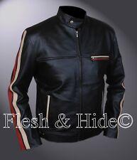 Slim Fit Cafe Racer Racing Stripes Jacket