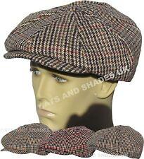 NUOVO in Tweed GATSBY CAP CAPPELLO UOMO DONNA PIATTI PAESE 8 Pannello Baker Boy CAPPELLO da strillone