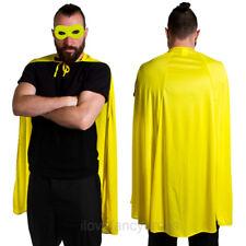 YELLOW SUPERHERO CAPE AND MASK ADULT CHARACTER FANCY DRESS SET COMIC BOOK FILM