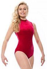 Ladies Womens Dance Gymnastics Velour Velvet Sleeveless Leotard KDGV017 By Katz