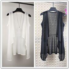 Women Chiffon Waistcoat Sleeveless Jacket Coat Mesh Vest Asymmetric Sheer