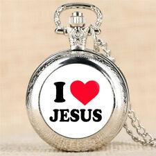 Steampunk JESUS LOVE ME Men Women Quartz Pocket Watch Necklace Pendant Chain