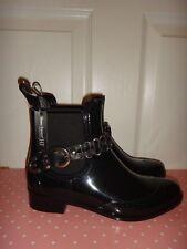 HENRY FERRERA Women's Black Rubber Booties Ankle Rain Boots Silver Size 6,7,8,9