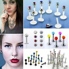 Set/Lot Labret Monroe Lip Helix Ear Studs Jewel Star Gem Crystal Bio Flexible US