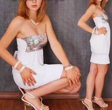 Sexy Miss Damen Bandeau Ballon Mini Kleid Pailletten Dress weiß silber 34/36/38