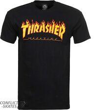 "THRASHER MAGAZINE ""Flame Logo"" Skateboard T-Shirt BLACK S M L or XL Tee"