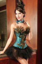 Traumhaftes 4-teiliges Korsagen-Kostüm PEACOCK mit Federn Pfau Burlesque Corsage