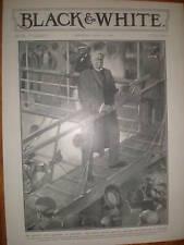 Cecil Rhodes leaving Southampton SS Briton 1902 print
