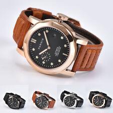 44mm Parnis Sapphire Automatic Movement Boy Men Watch Lume Master Leather Strap