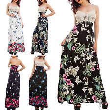 Vestito donna abito lungo fantasia floreale top pizzo ricamato tricot KK10076