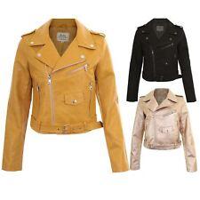 Ladies Long Sleeve Faux Leather Smart Side Zip Belted Waist Biker Coat Jacket