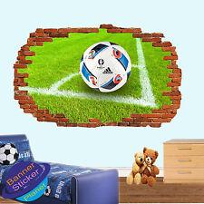 Esquina de fútbol Kick Bola 3D Pared Adhesivo Decoración de habitación destrozada Calcomanía Mural YK1