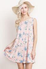 MTS Juniors Pink Floral Print Pocket Knit Dress - M,L