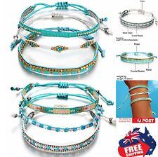 Adjust Handmade Bohemian Beads Mens Women Braided Cord Hemp Bracelet Wristband