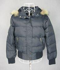 Women cropped down jacket coat outwear w/ hood color navy size XS new