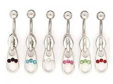 Zip Gem Dangle Belly Bar - Choose Crystal Colour & Length 6mm 8mm 10mm 12mm 14mm