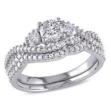 Amour 1 1/8 CT TW 3-Stone Diamond Bridal Set in 14k White Gold