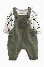BNWT NEXT Baby Boys 2 Piece Khaki Elephant Print Dungaree & Vest Set 3-6 Months
