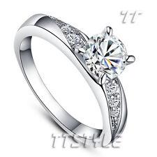 TT 18K White Gold GP Engagement Wedding Ring (RF46)
