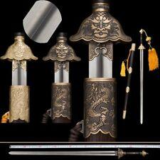 auspicious Dragon Tai Chi Sword Stainless Steel Ridged Blade Brass Fittings #012