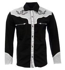 f4e1a010f0 Para hombres Camisa Camisa charro charra el general Color Negro blanco  diseño de caballo