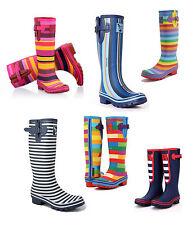 Ladies Evercreatures Multi Tall Wellies Striped Wellington Boots - UK 3 - 8