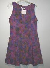 Button-Down Dress Purple Prarie Pattern Batik Rayon Mini w/Ties & Side Pockets