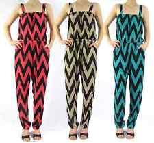Women's jumpsuit, romper chevron zig zag print Coral, Taupe, Teal/Black S M L