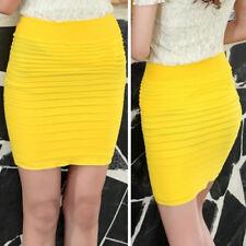 Yellow Ladys Women Casual Bodycon Stretchy Layered Ruffle Mini Pencil Skirt OS