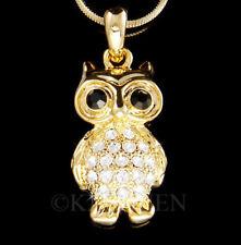 Owl Night Snow Bird made with Swarovski Crystal Nature Animal Gold Tone Necklace