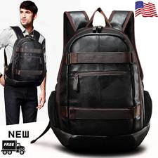 US New Mens Large Leather Backpack School Travel Rucksack Satchel Laptop Bag