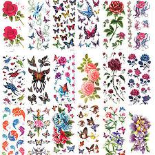 Ladies 3D Roses Butterfly flowers Tattoo Sticker Temporary Body Art Waterproof