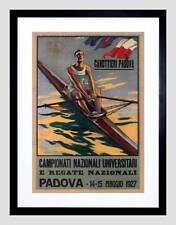 SPORT ROWING CANOE PADOVA ITALY REGATTA VINTAGE ADVERT FRAMED PRINT B12X1263