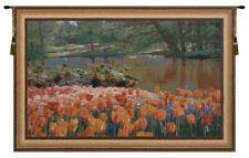Keukenhof Gardens Belgian Woven Landscape Tulip Tapestry Wall Hanging Art