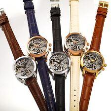 Women's Akribos XXIV Automatic Skeleton Exhibition Crocodile Leather Strap Watch