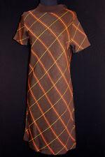 VINTAGE RESTOS DE STOCK 600ms marrón rayas Clásico Vestido 6