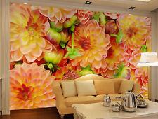 3D Blooming Orange flowers wall Paper Print Decal Wall Deco Indoor wall Mural