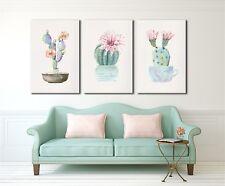 Cactus Flower Watercolour Framed Canvas Prints Modern Wall Art Home Decor Print