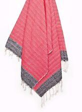 Butica Turkish Towel Custom Weave Peshtemal Towel Fouta XL Red Grey Blue 33x70