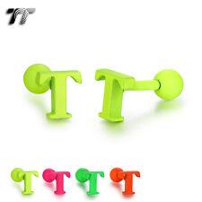 TT Surgical Steel Letter T Fluorescent Ear Cartilage Tragus Earrings (TR19) NEW