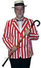 Striped Blazer Jacket Mens Costume Red Barber Shop Nineties Roaring 20s