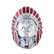 Red Enamel American Indian Head 925 Silver Ring