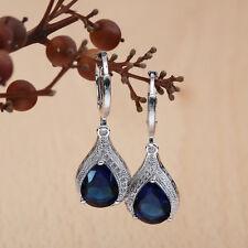 925 Silver Teardrop Blue Sapphire Drop Dangle Earring Hoop Women Fashion Jewelry