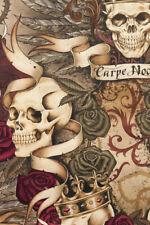 Alexander Henry Royal Fabric in Vintage Skulls Roses Crown Scrolls FQ/Metre