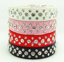 Bling Rhinestone PU Leather Crystal Diamond Pet Dog Cat Puppy Collar S M L XL